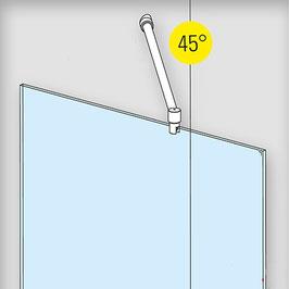Edelstahl Stabistange-Set für Glasdusche, Glas-Wand, 45°, 19 mm Rohr, Art.Nr. 6017/6019