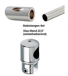 Stabistange-Set für Glasdusche, Glas-Wand 22,5° (winkelhalbierend), 19 mm Rohr, Chrom glanz,  Art.Nr. S225-SET