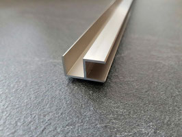 Alu-U-Eckprofil in Edelstahloptik für 8 mm Glas zur innenseitigen Silikonverklebung, 200 oder 220 cm, Art.Nr. ECOE