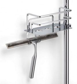 Korb für Duschstange mit Duschabzieher mit gerader Grundplatte (Löcher), bis 25 mm Stangenrohr geeignet