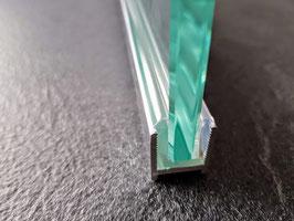 Alu-U-Wandprofil - Profil mit L-Vinyl und Kederstab zur Befestigung feststehender Scheiben ohne Silikon, Art.Nr. DUC516/DUC38