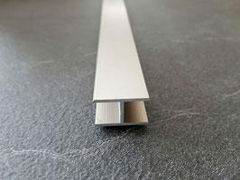 Alu-H-Verbindungsprofil 180° in Edelstahloptik für 6 oder 8 mm Glas zur innenseitigen Silikonverklebung, 2000 mm, Art.Nr. ECOH