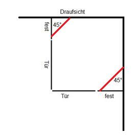 Stabistange-Set für Glasdusche, Glas-Wand 2x45°, 19 mm Rohr, Chrom glanz, 2x 500 mm,   Art.Nr. S45DUO-SET