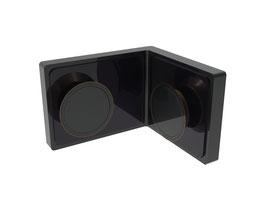 Serie Gano flächenbündig, Winkelhalter Glas/Glas 90°, Chrom glanz oder Schwarz matt, Art.Nr. LU90