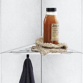 Ablage für Duschecke aus Edelstahl, dreieckige Form für Einbau in Fliesenfugen.