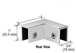 Klemmwinkel als Glas-Glas Halter 90°, für feststehende Scheiben zur Stabilisierung im 90°-Winkel, ohne Glasbohrung