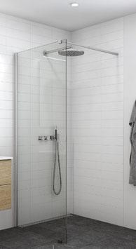 Duschabtrennung als Seitenwand / offener Zugang ohne Tür (1-scheibig), Größe 90, 100, 120 oder 140 cm, Typ Dani