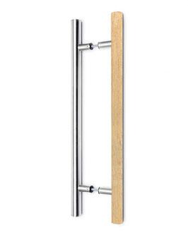 Sauna-Türgriff, Modell 59, zweiseitig, Kombination aus Abachi-Holz und Chrom