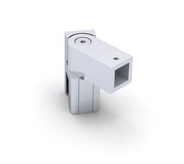 Glasanschluss drehbar, quadratisch 12x12 mm, Messing glanzverchromt, 90°, Art.Nr. BO5420263