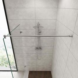 Edelstahl Stabistange-Set für Glasdusche, Glas-Wand, 90°, 19 mm Rohr, Art.Nr. 6018/6020