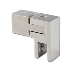 Glasanschluss verstellbar, Edelstahl poliert oder gebürstet, 15 x 15 mm, Art.Nr. 5420257