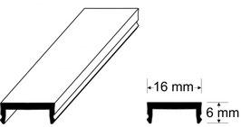 LED Abdeckprofil aus Acrylglas, 16 x 6 mm, Farbe: Weiß, Länge: 250 cm