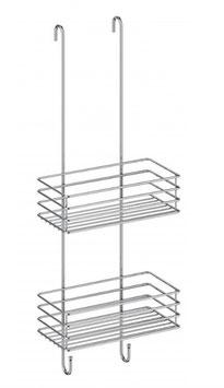 Duschkorb zum Einhängen an Glaskante der Duschtrennwand, doppelter Korb, Chrom glanz,  Art.Nr. B1210