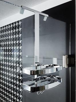 Rava Duschkorb mit gerader Grundplatte, mit Glashalteleiste zum Einhängen an Glaskante, verchromt, stabile Ausführung, wählbar mit kurzer oder langer Glashalteleiste, wahlweise mit zusätzlicher Ablage