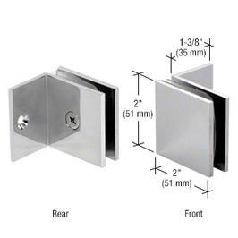 Quadratischer Halter für feststehendes Glasteil, mit kurzem Schenkel für Festteil, Art.Nr. SGC037
