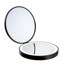 Reise-/Kosmetikspiegel mit LED-Beleuchtung. Vergrößerung 7-fach. Schwarz oder Weiß. Durchmesser 120 mm Art.Nr. FB627/FX627