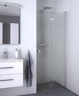 Duschabtrennung, Nischenlösung mit 2-tlg. Falttür (2-scheibig), pendelnd, Größe 90 cm oder 100 cm, Typ Dani