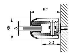 Klemmprofil-Set mit abgerundeten Abdeckprofilen, Typ GR für Glasdicke 8 mm