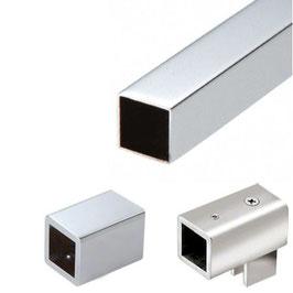 Stabistange-Set eckig für Glasdusche, Glas-Wand, 90°, 19 x 19 mm Vierkant, Messing verchromt,  Art.Nr. SQ1910SET - Aktion