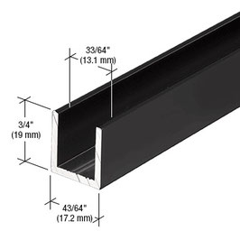 schwarzes Alu-U-Wandprofil für 10 mm Glas zur innenseitigen Silikonverklebung, Höhe 19 mm, Art.Nr. SDCD12.MBL