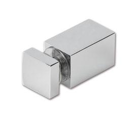 Glasanschluss in Glasbohrung, quadratisch 12x12 mm, Messing glanzverchromt, 90°, Art.Nr. BO5213679