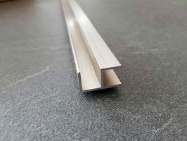 Alu-U-Eckprofil 90°in Edelstahloptik für 6 oder 8 mm Glas zur innenseitigen Silikonverklebung, 200 oder 220 cm, Art.Nr. ECOE