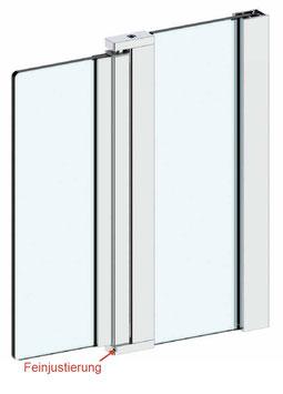 Duschtür-Set, Drehteil an Festteil (2-scheibig) für 6 mm Glasdicke, Serie NLO60-Set eckig Glas-Glas, inkl. Wandprofil