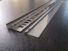 """Fliesen-U-Winkelprofil """"Slimline""""  mit 2-tlg. Gefällekeil für feststehende Glasabtrennung; Typ ST-GPDU, Edelstahl geschliffen K220; Art.Nr.: GPDU-K220"""
