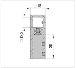 T-Verbinder für Stabistange, quadratisch 12x12 mm, Messing glanzverchromt, 90°, Art.Nr. BO5420266