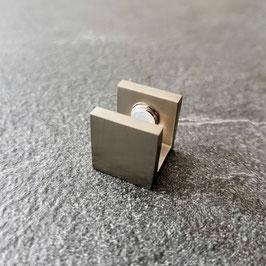 U-Schuh Halter, für Glasscheiben zur Stabilisierung an Wand, am Boden oder an der Decke, ohne Glasbohrung; Art.Nr. EH26/27
