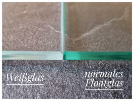 Mehrpreis für Weißglas (nahezu farbneutrales Glas ohne Grünstich)
