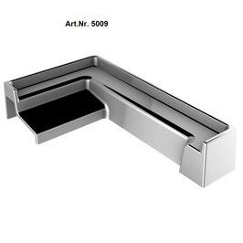Zubehör für SM-Schwallprofil, 90° Eck-Abschlußkappe Links, Art.Nr. 5009, glanzverchromt