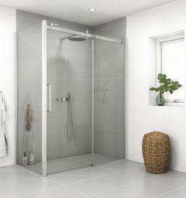 Deluxe Schiebetür-Duschabtrennung, 3-scheibig mit einer Seitenwand für Duschecken, Typ Dani XXL