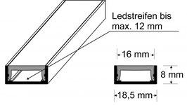 LED U-Profil (Alu) ohne Verfliesungsschenkel mit LED Abdeckprofil (PMMA)
