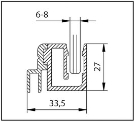 Kombination aus Badewannenaufsatzprofil und Magnetleistenträger zum Aufstecken einer Magnetdichtung im Anschluß an einer Badewanne, Länge: 2000 mm