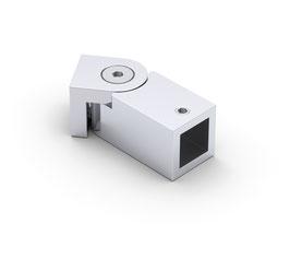 Wandanschluss einstellbar für Stabistange, quadratisch 12x12 mm, Messing glanzverchromt, 90°, Art.Nr. BO5420265