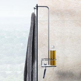 Apiv Duschkorb, ohne Abzieher, Chrom glanz, mit Abstand zum Glas für einfache Reinigung der Glasscheibe