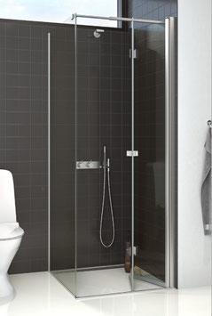 Duschabtrennung mit Seitenwand und 2-tlg. Falttür (3-scheibig), pendelnd, Größe 90 x 90 oder 100 x 100 cm, Typ Dani