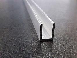 Alu-U-Wandprofil für 8 mm Glas zur innenseitigen Silikonverklebung, Höhe 19 mm, Art.Nr. SDCD38