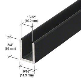 schwarzes Alu-U-Wandprofil für 8 mm Glas zur innenseitigen Silikonverklebung, Höhe 19 mm, Art.Nr. SDCD38.MBL