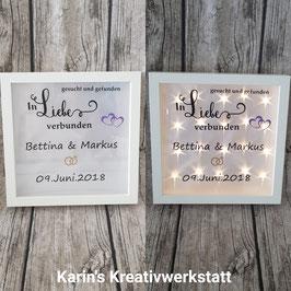 """LED Bilderrahmen """"Hochzeit"""" *Gesucht und Gefunden, in Liebe verbunden*"""