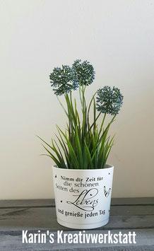 Blumentopf Weiß *Nimm dir Zeit für die schönen Seiten des Lebens*