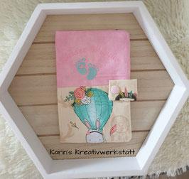 Mutterkindpasshülle *Kleines Wunder* Luftballon Beige/Rosa