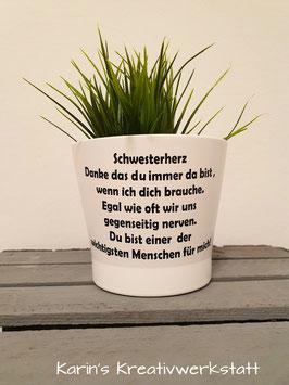 Blumentopf Weiß *Schwesterherz*