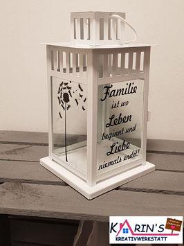 Weiße Laterne *Familie ist wo Leben beginnt und Liebe niemals endet* mit Pusteblume