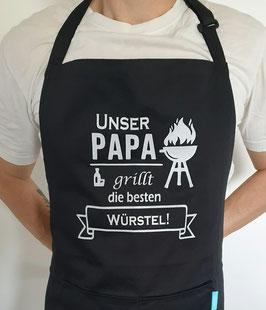 Kochschürze Schwarz *Unser Papa grillt die besten Würstel*