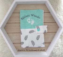 Mutterkindpasshülle *Kleines Wunder* Feder Weiß/Mint