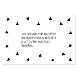 25 stuks adressticker driehoekjes zwart
