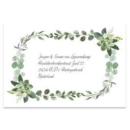 25 stuks adressticker foliage watercolor