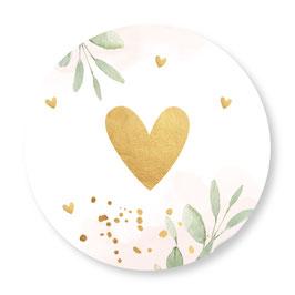 25 stuks sluitstickers floral roze hartje goudlook